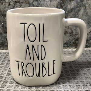 Rae Dunn TOIL AND TROUBLE Double Sided Mug